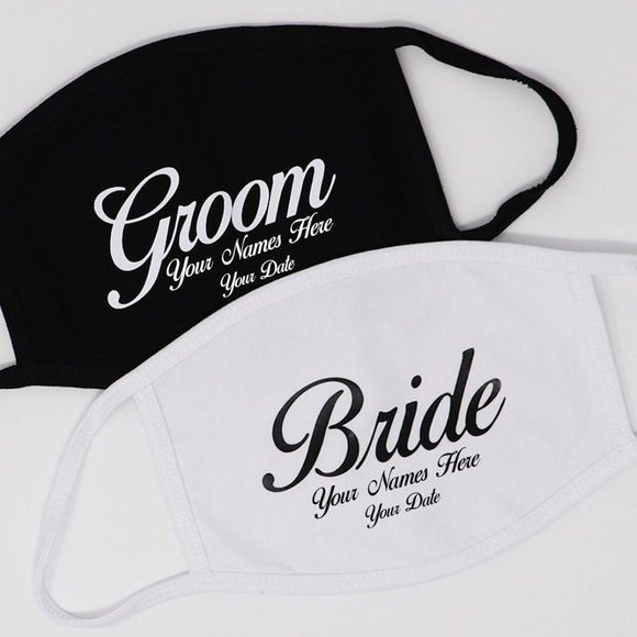 Personalized Bride and Groom Face Mask Set of 2